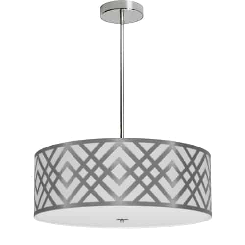 4 Light Pendant, Polished Chrome Finish, White & Silver Shade