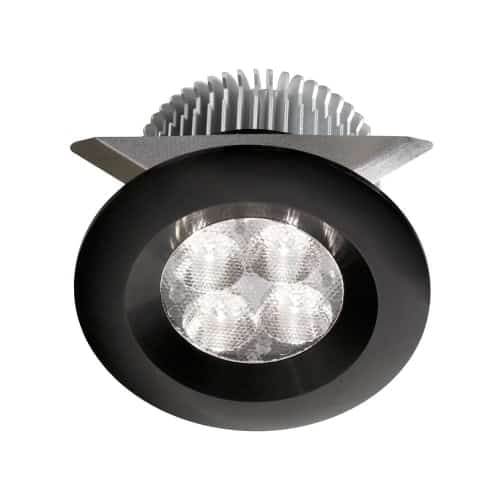 """Black 2x4W 3000K, CRI80+, 25° beam, 24VDC input with Male Connector, 18"""" Lead wire, D70xH50 mm, Dimmable."""