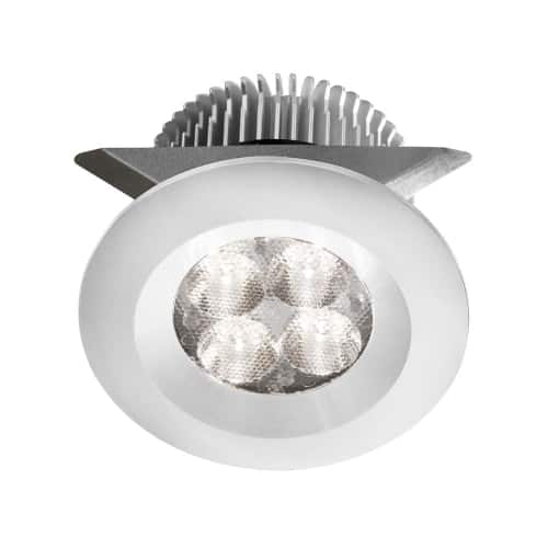 """White 2x4W 3000K, CRI80+, 25° beam, 24VDC input with Male Connector, 18"""" Lead wire, D70xH50 mm, Dimmable."""