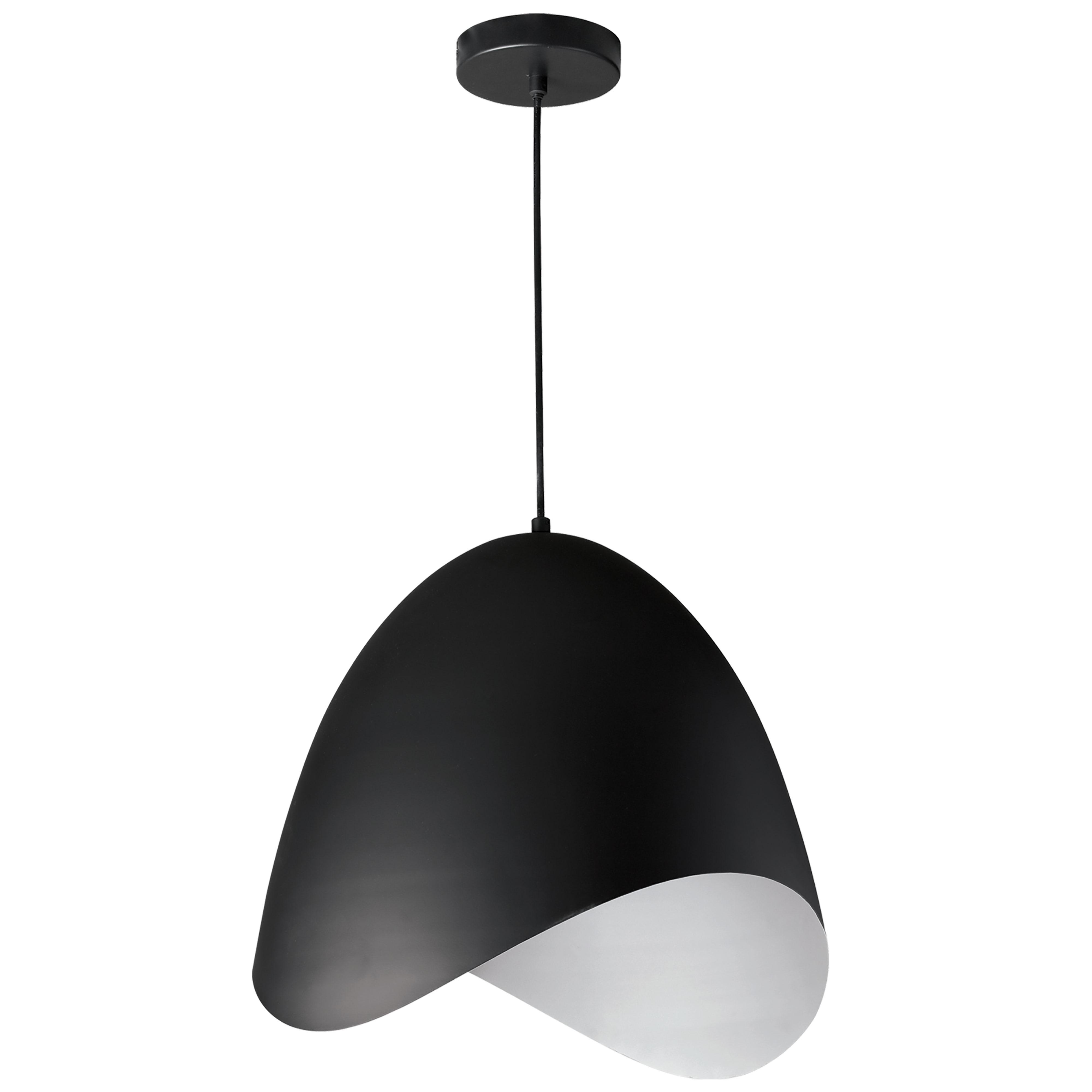 1 Light Pendant, Black Finish