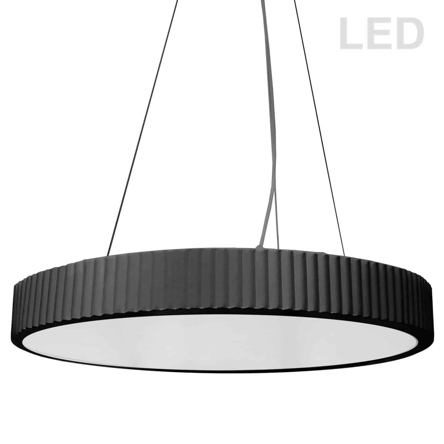 42W LED Pendant, Matte Black with White Acrylic Diffuser