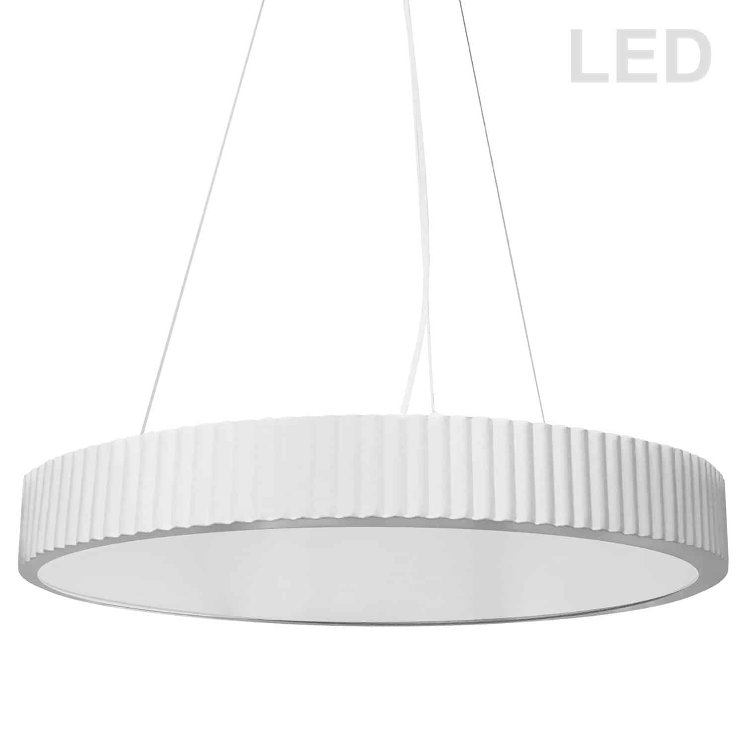 42W LED Pendant, Matte White with White Acrylic Diffuser