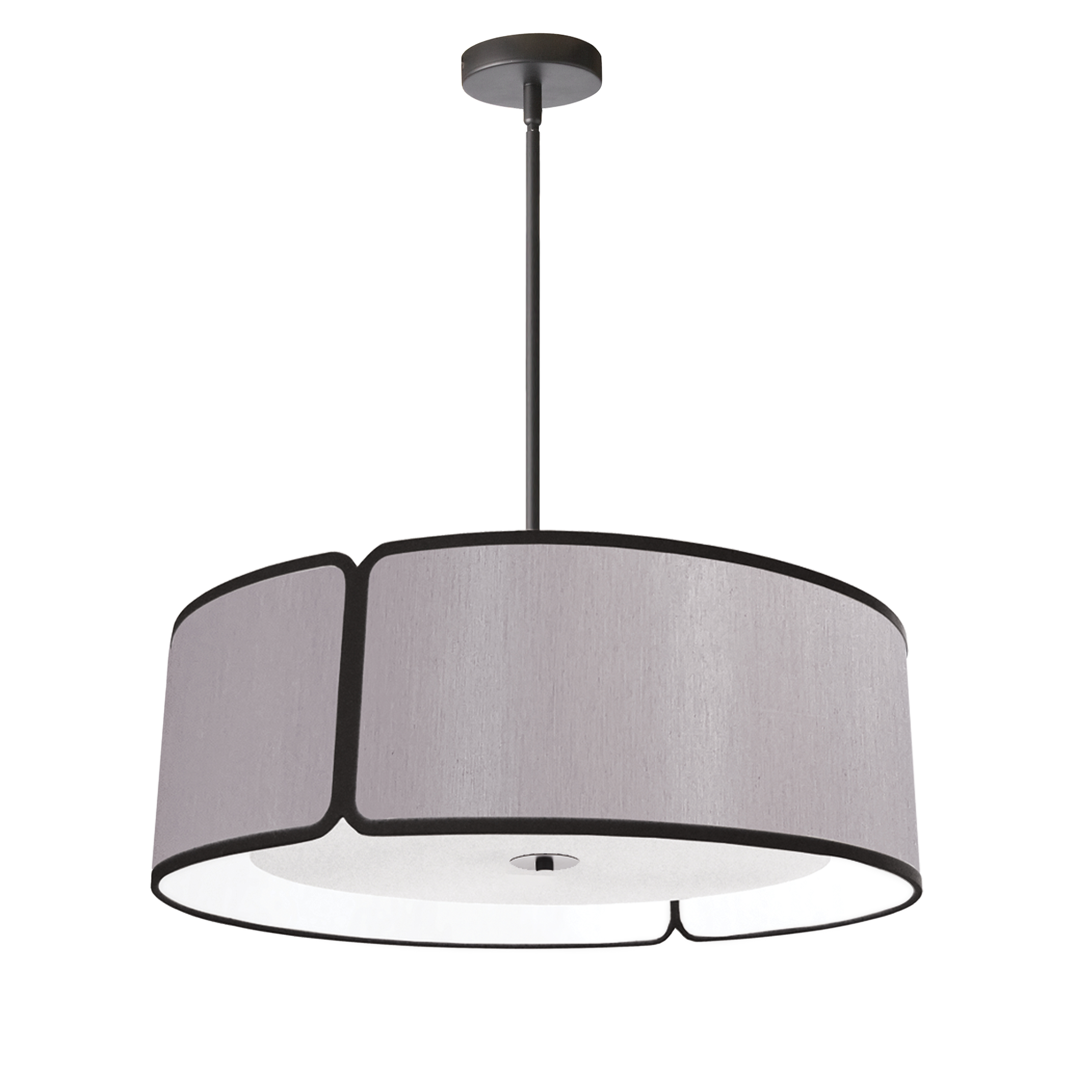 4 Light Black Notched Drum Pendant, Grey Shade and White Diffuser