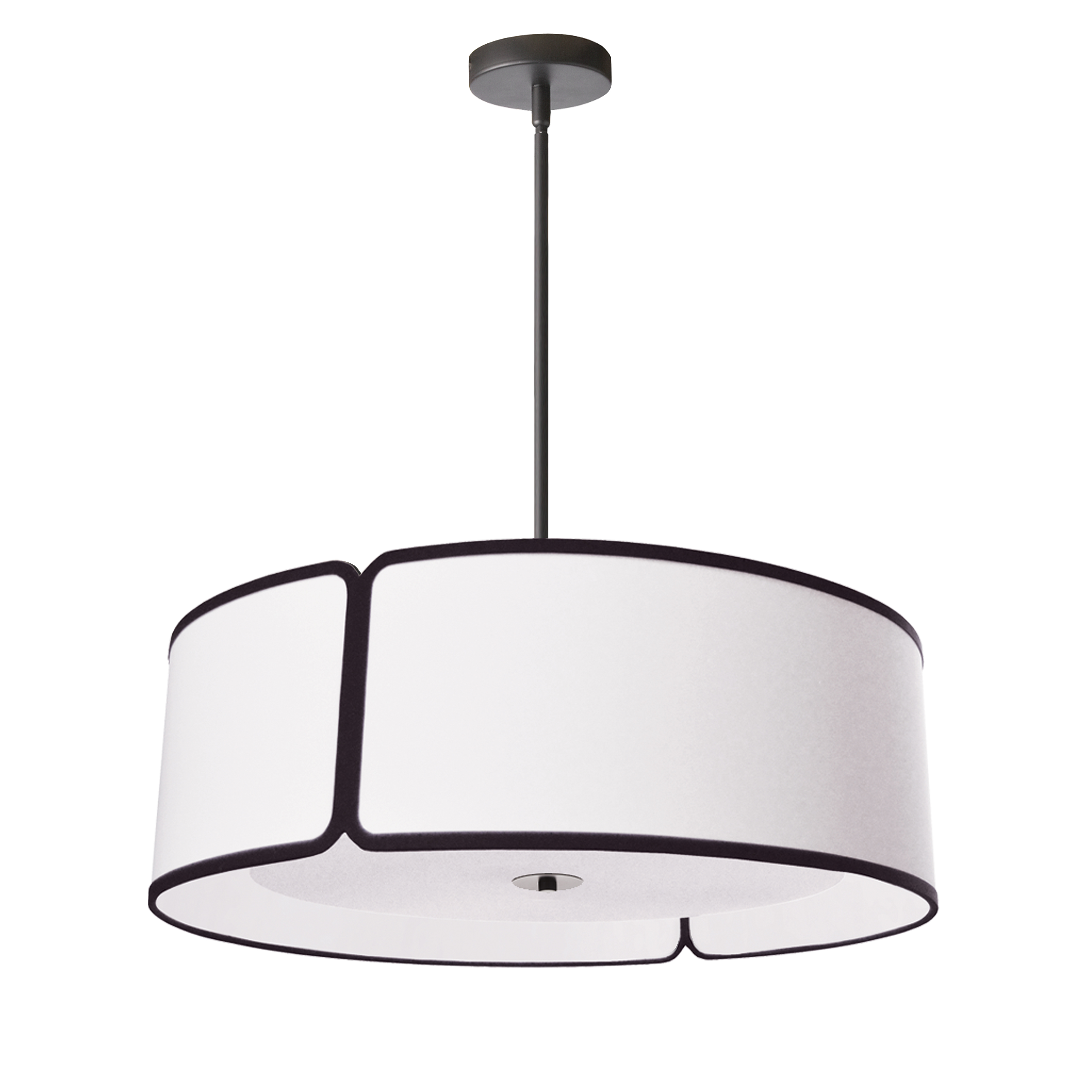 4 Light Black Notched Drum Pendant with White Shade and White Diffuser