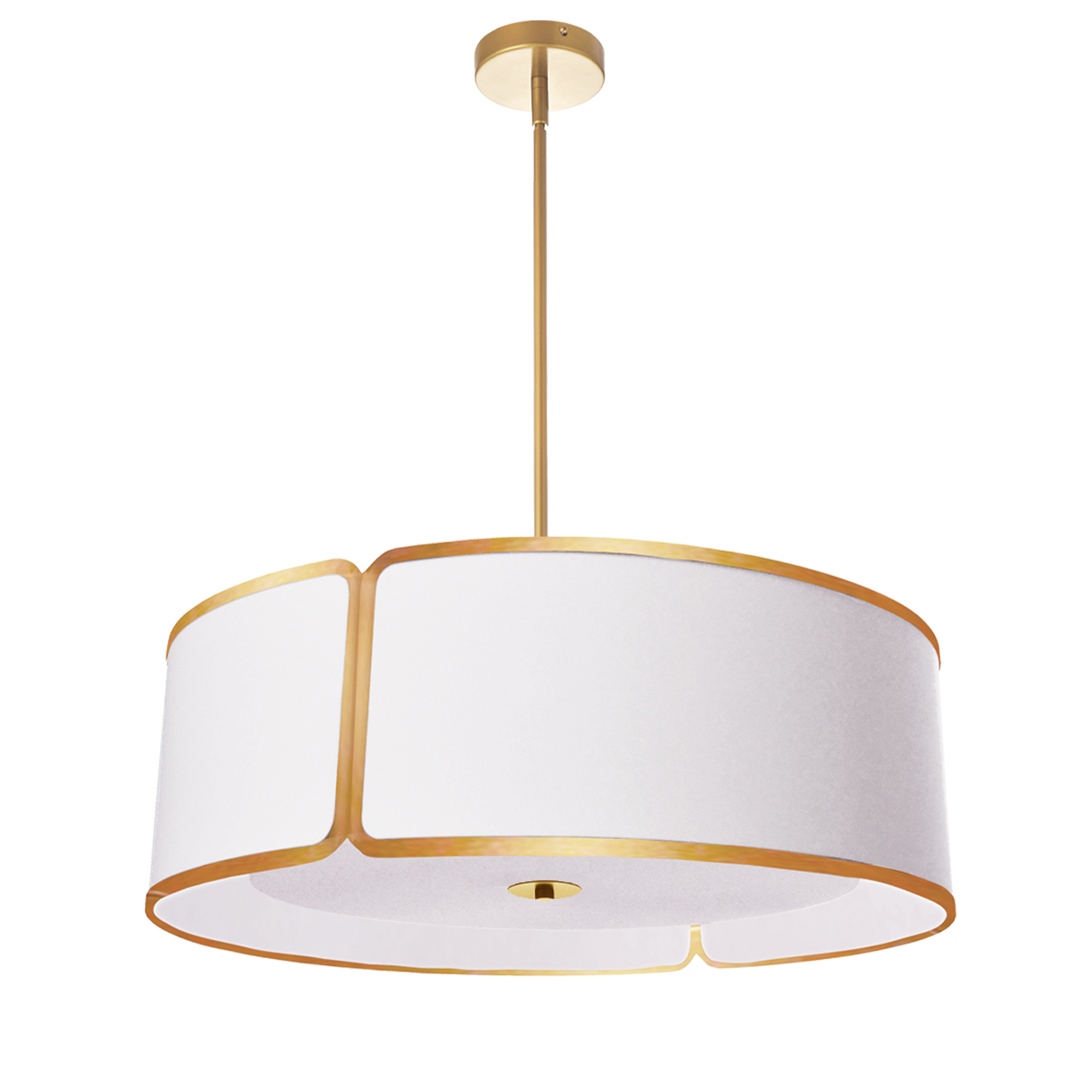 4 Light Gold Notched Drum Pendant, White Shade and Diffuser
