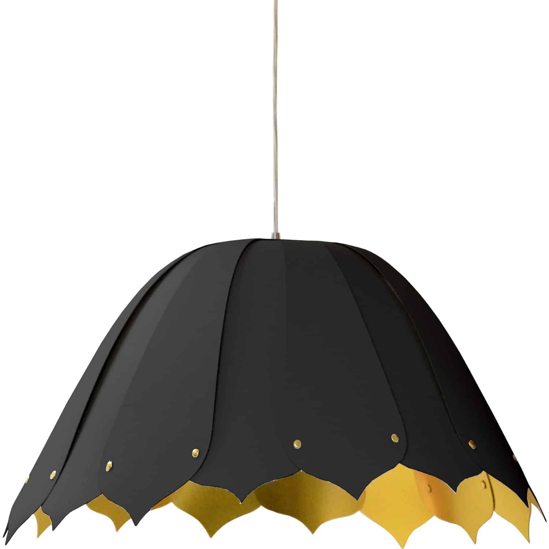1 Light Noa Pendant JTone Black on Gold, Medium Black