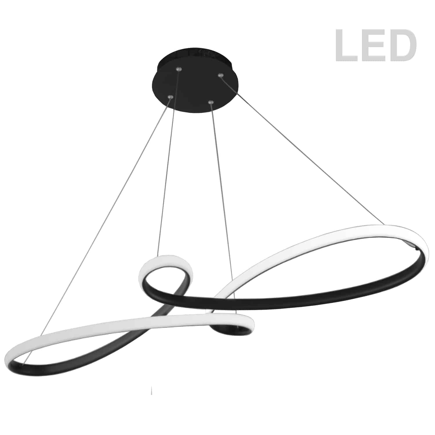 50W LED Horizontal Pendant, Matte Black with White Silicone Diffuser