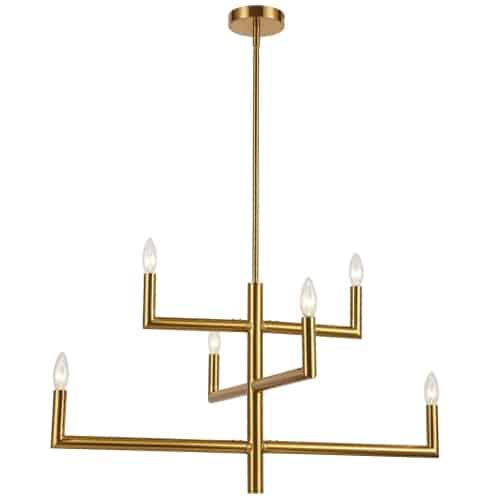 6 Light Incandescent Aged Brass Chandelier