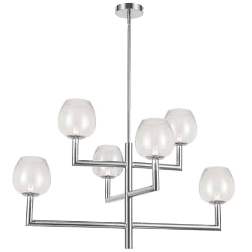 6 Light Incandescent Polished Chrome Chandelier w/ Clear Glass