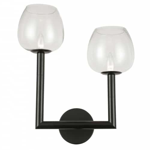 2 Light Incandescent Wall Sconce, Matte Black w/ Clear Glass