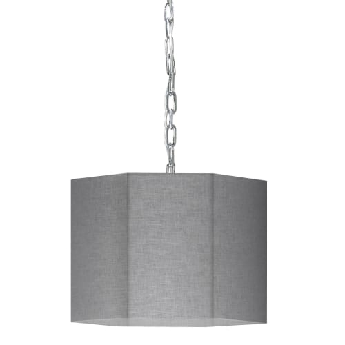1 Light Incandescent Polished Chrome Pendant w/ Grey/Clear Shade