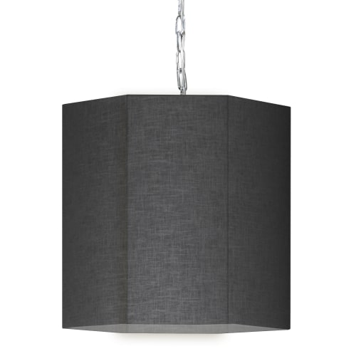 1 Light Incandescent Polished Chrome Pendant w/ Black/Clear Shade
