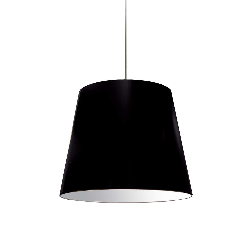 1 Light Oversized Drum Pendant Medium Black Shade