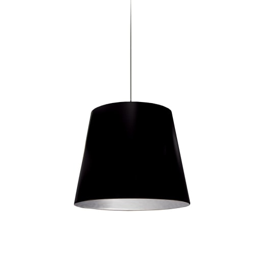 1 Light Tapered Drum Pendant with Black  on Silver Shade