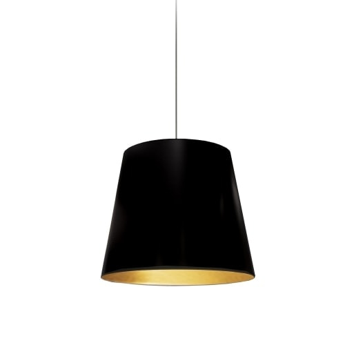 1 Light Tapered Drum Pendant with Black  on Gold Shade