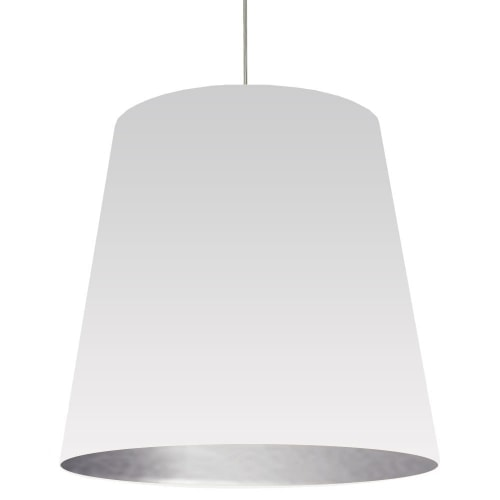 1 Light Tapered Drum Pendant with White on Silver Shade