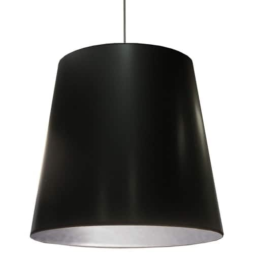 1 Light Oversized Drum Pendant with Black  on Silver Shade,X-Large