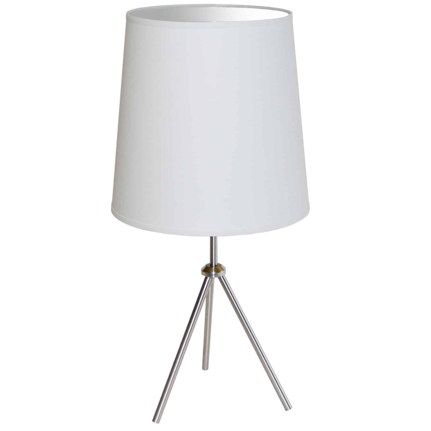 1 Light 3 Leg Drum Table Fixture w/White Shade