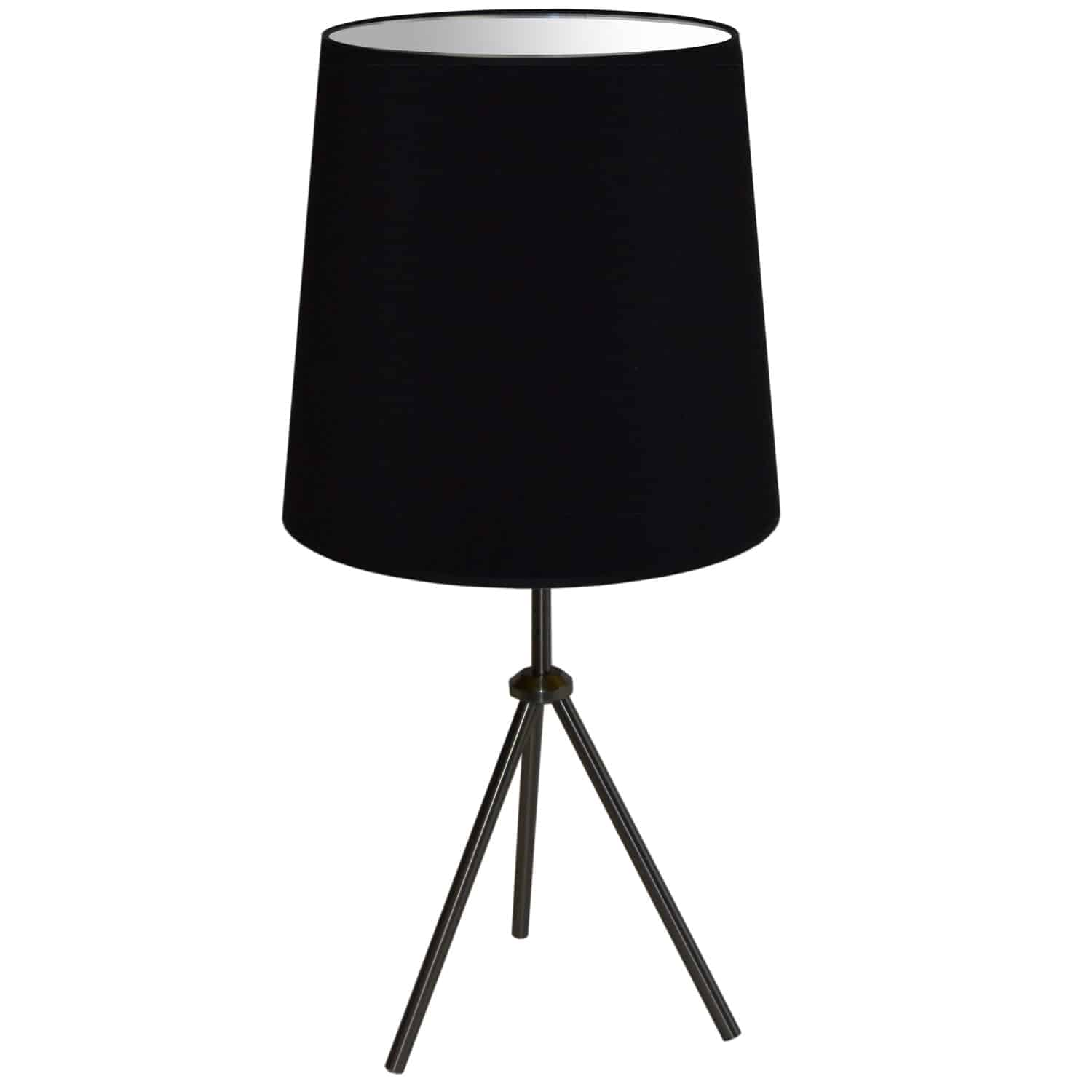 1 Light 3 Leg Drum Table Fixture w/Black Shade