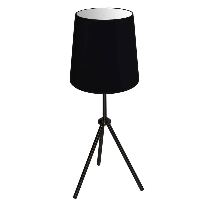 1 Light 3 Leg Drum Table Fixture w/Black Shade