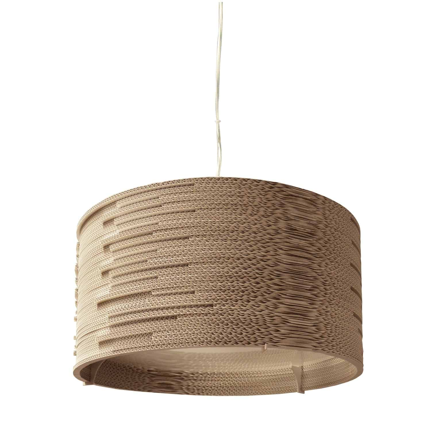 3 Light Incandescent Pendant Cardboard Finish with frosted Diffuser