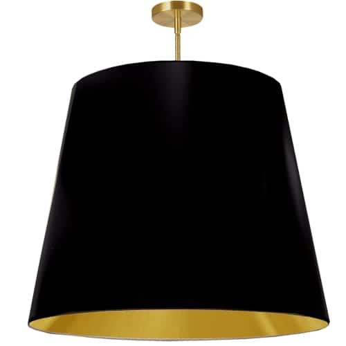 1 Light Oversized Drum Pendant X-Large Black/Gold Shade