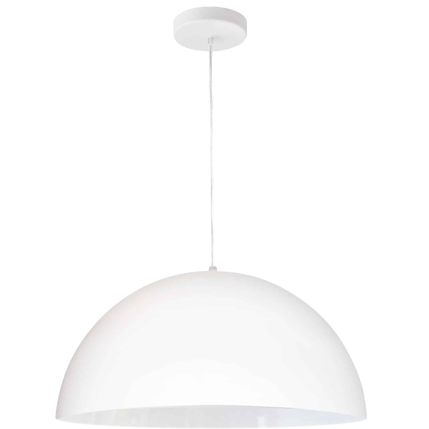 1 Light Incandescent Small Dome Pendant, Matte White