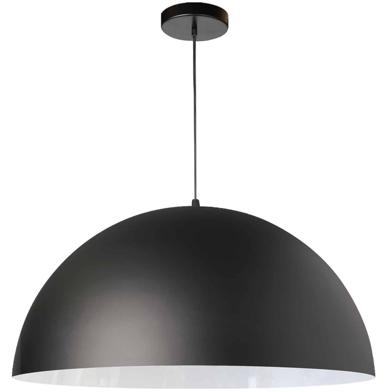 1 Light Incandescent Large Dome Pendant, Matte Black