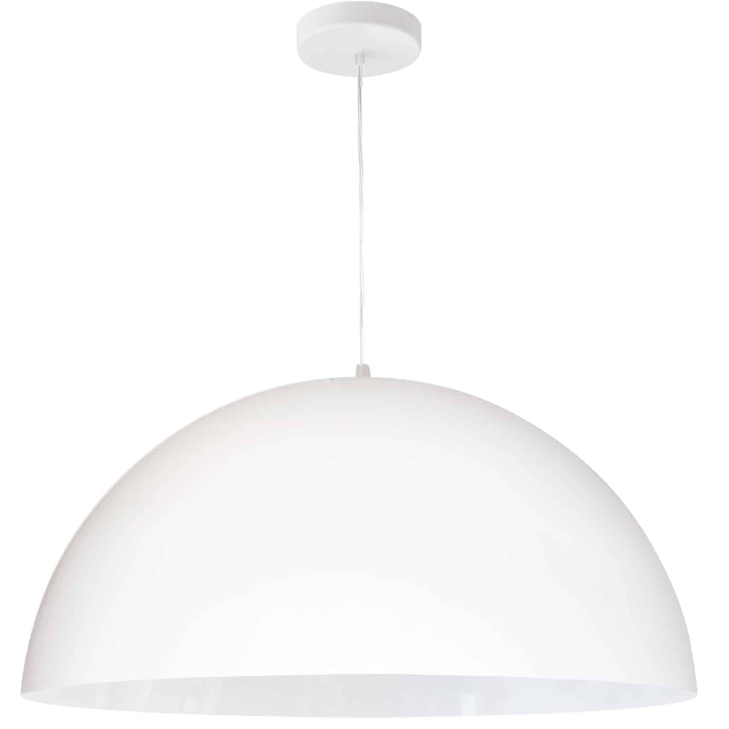 1 Light Incandescent Large Dome Pendant, Matte White