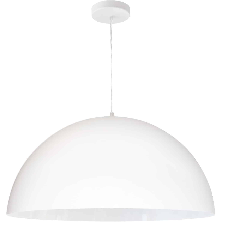 1 Light Incandescent Large Dome Pendant, Matte White