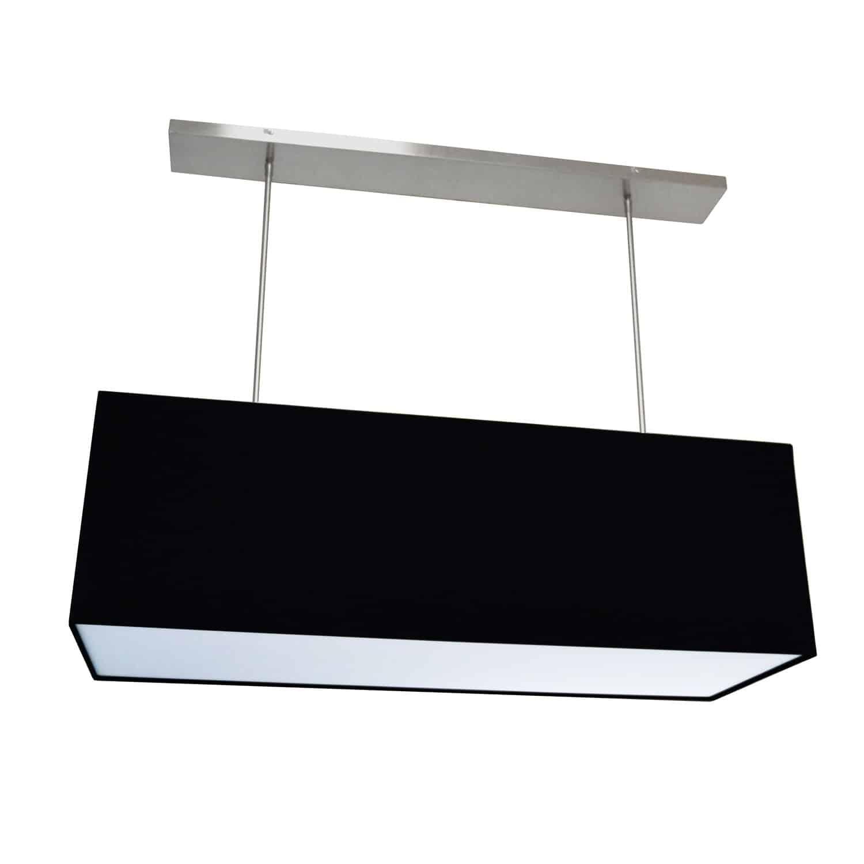 4 Light Oversized Rect Pendant,Large, Black w/ Fabric Diffuser