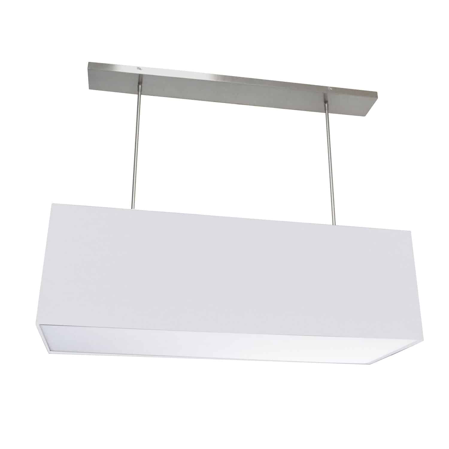 4 Light Oversized Rect Pendant, Large White w/ Fabric Diffuser