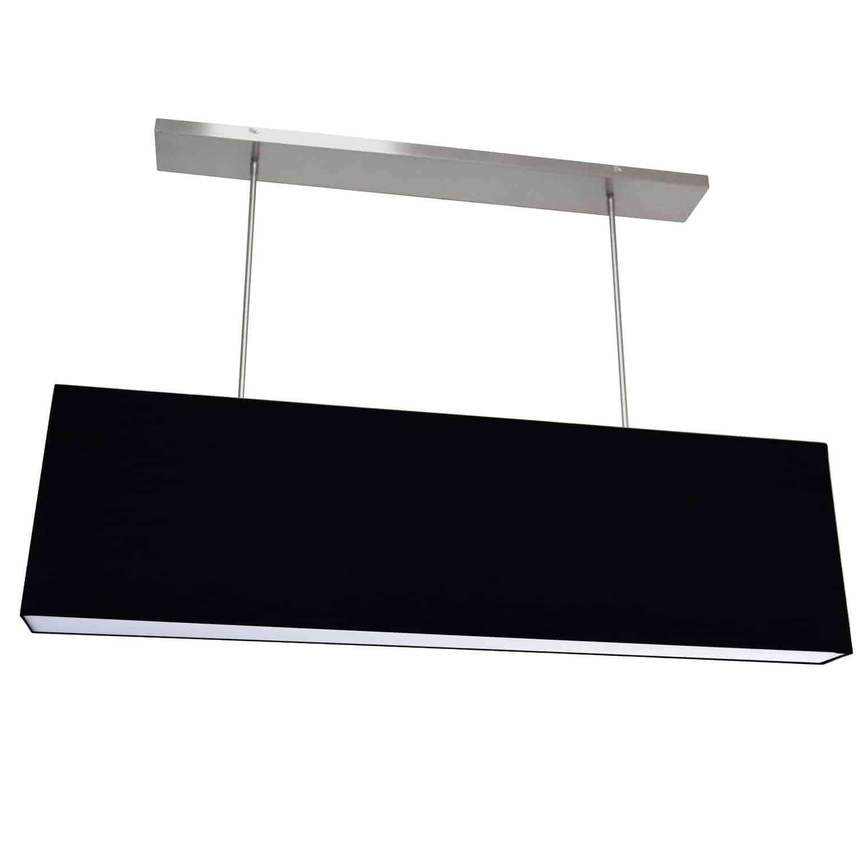 4 Light Oversized Rect Pendant,Small  Black w/ Fabric Diffuser
