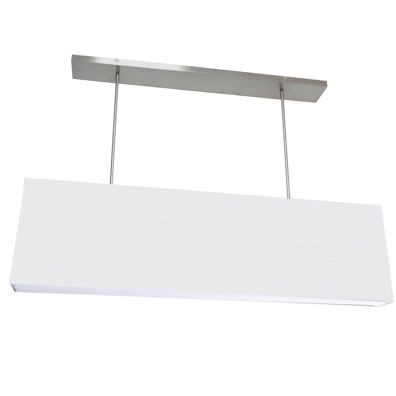 4 Light Oversized Rect Pendant, Small White w/ Fabric Diffuser