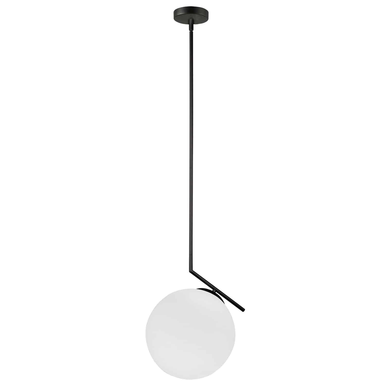 1 Light Incandescent Pendant, Matte Black with Opal Glass