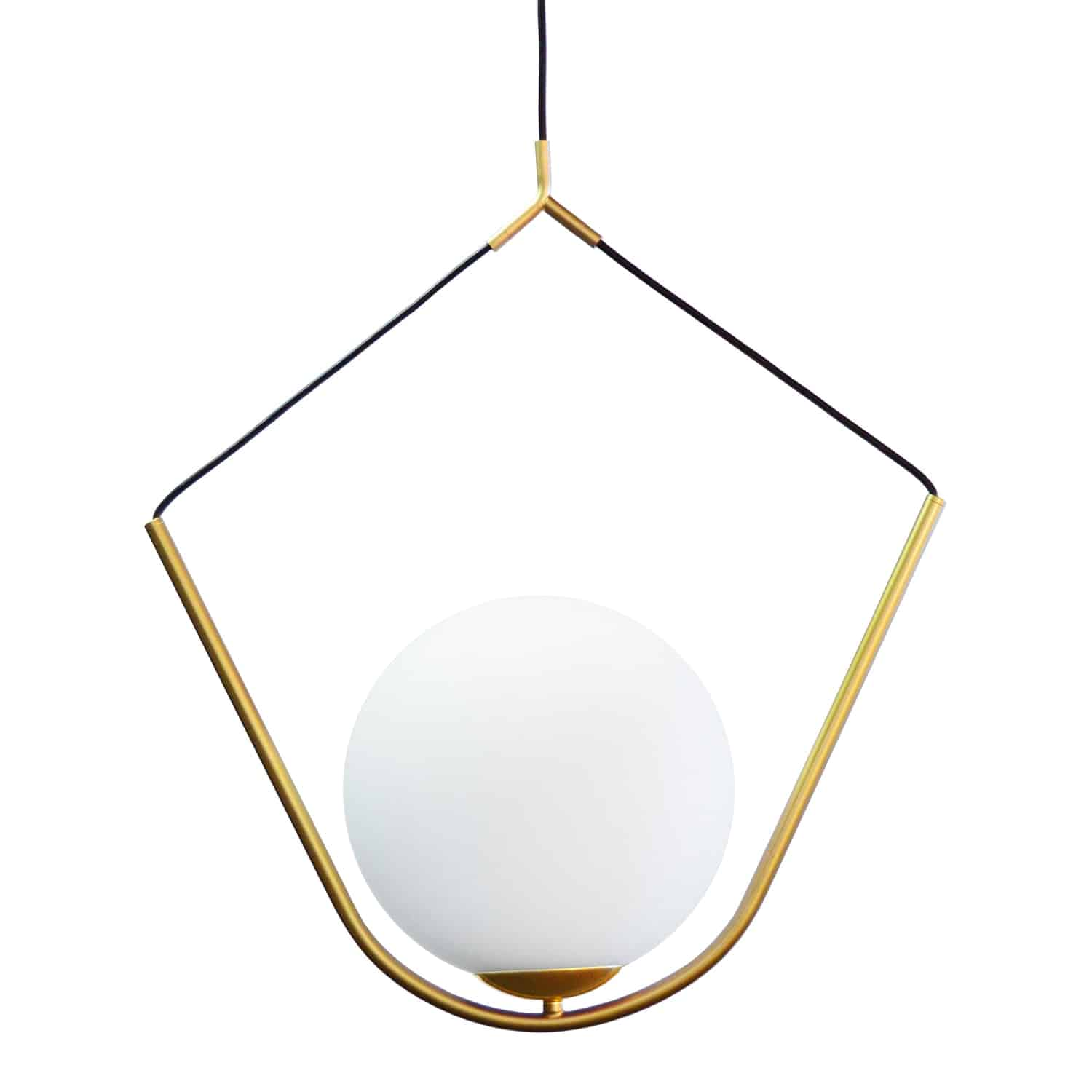 1 Light Incandescent Pendant Aged Brass Finish with White Glass