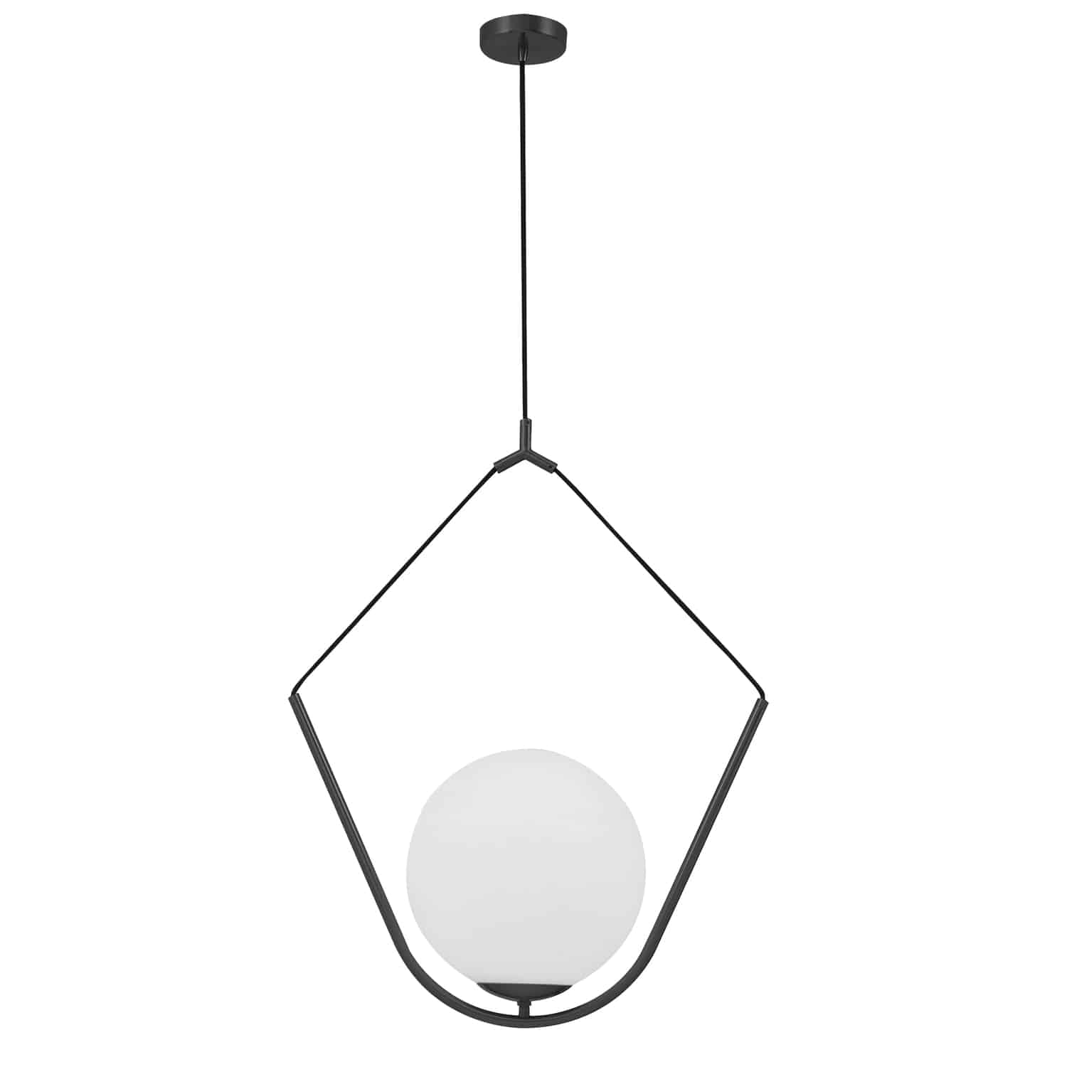 1 Light Incandescent Pendant, Matte Black with Opal Glass