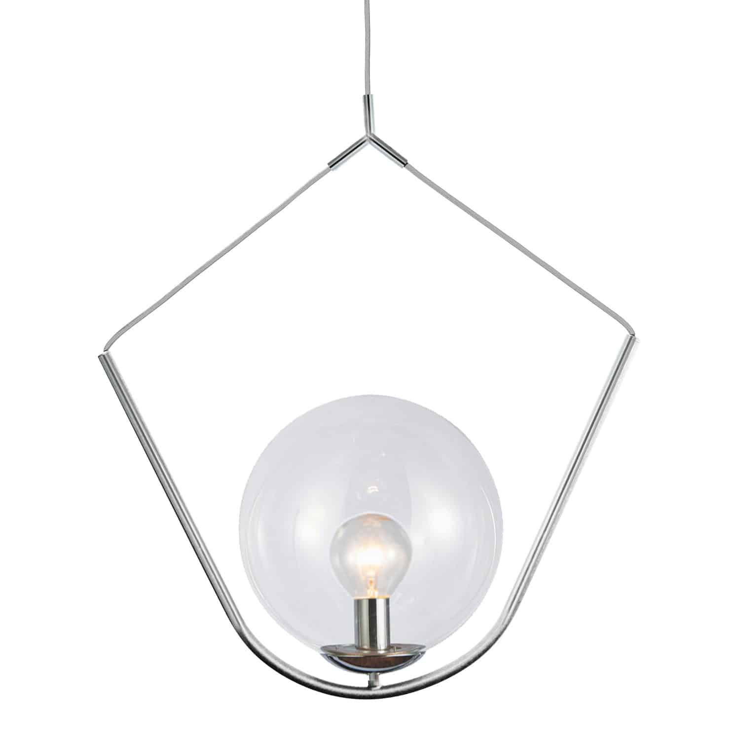 1 Light Incandescent Pendant Polished Chrome Finish with Clear Glass