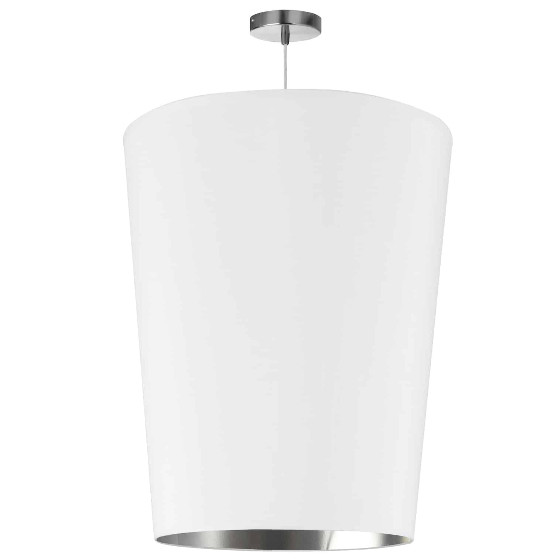 1 Light Paisley Pendant White on Silver, Large Polished Chrome