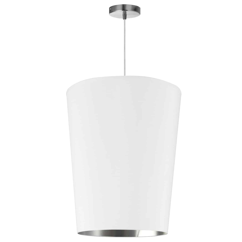 1 Light Paisley Pendant White on Silver, Medium Polished Chrome