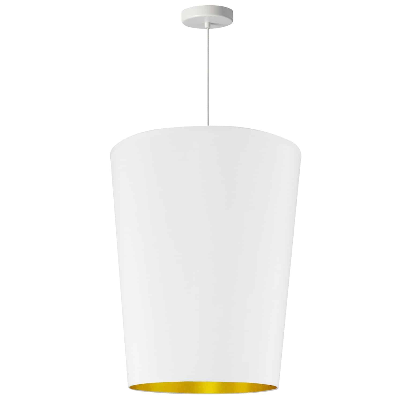 1 Light Paisley Pendant White on Gold, Medium White
