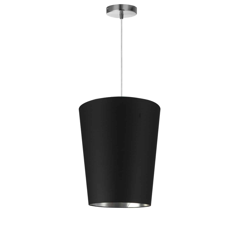 1 Light Paisley Pendant Black on Silver, Small Polished Chrome