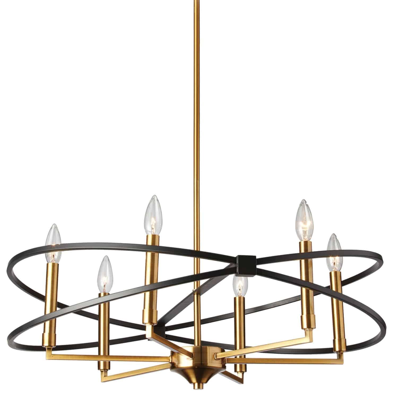 6 Light Chandelier, Vintage Bronze and Matte Black Finish