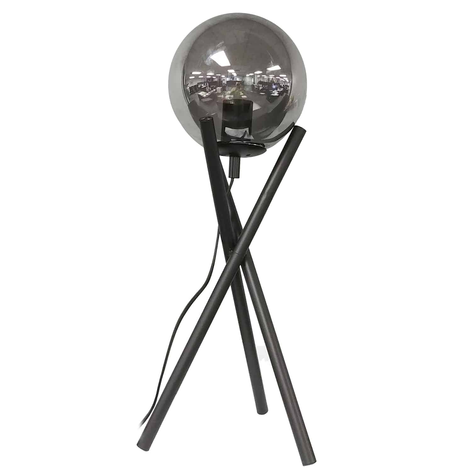 1 Light Incandescent Table Lamp, Matte Black with Smoked Glass