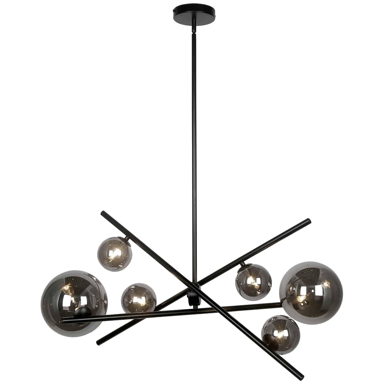 6 Light Halogen Horizontal Pendant, Matte Black with Smoked Glass