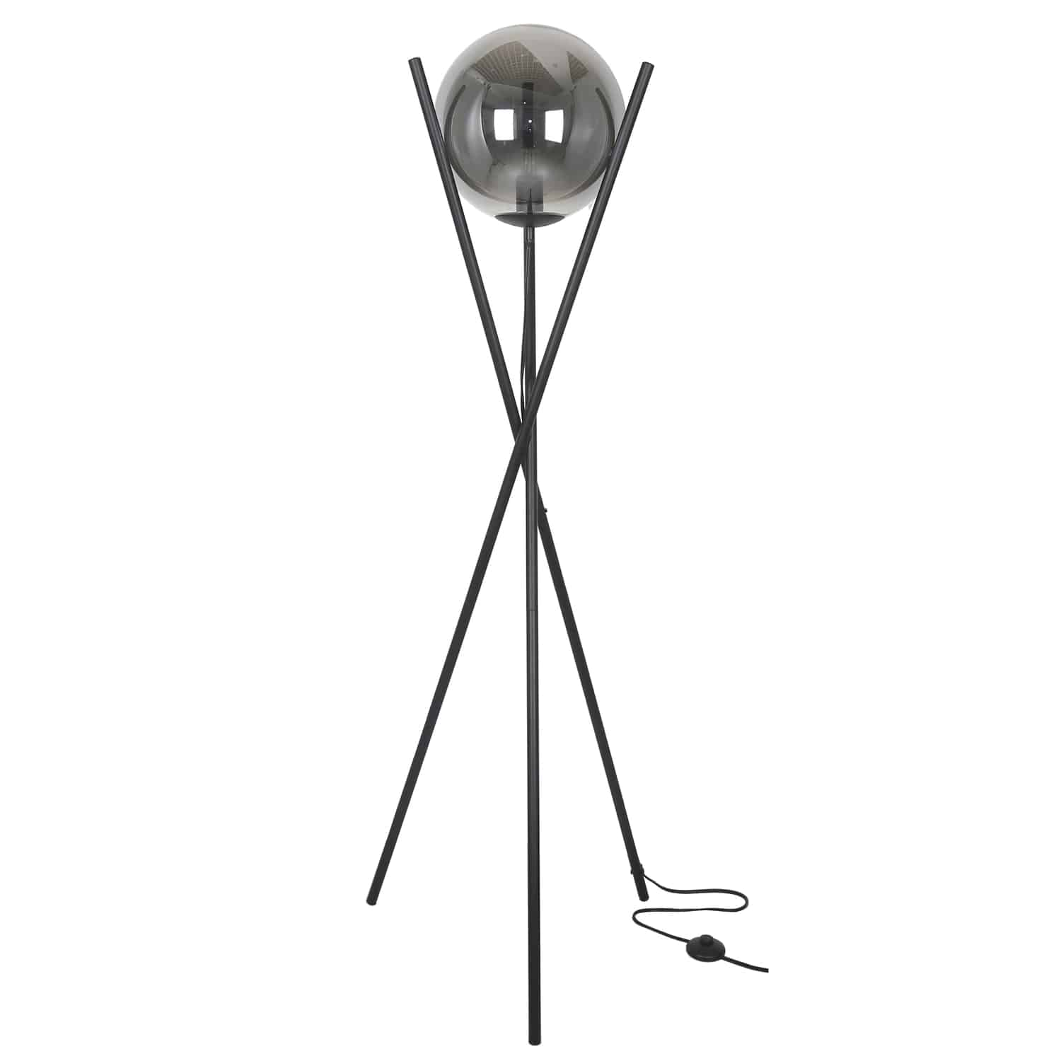 1 Light Incandescent Floor Lamp Matte Black Finish with Smoked Glass