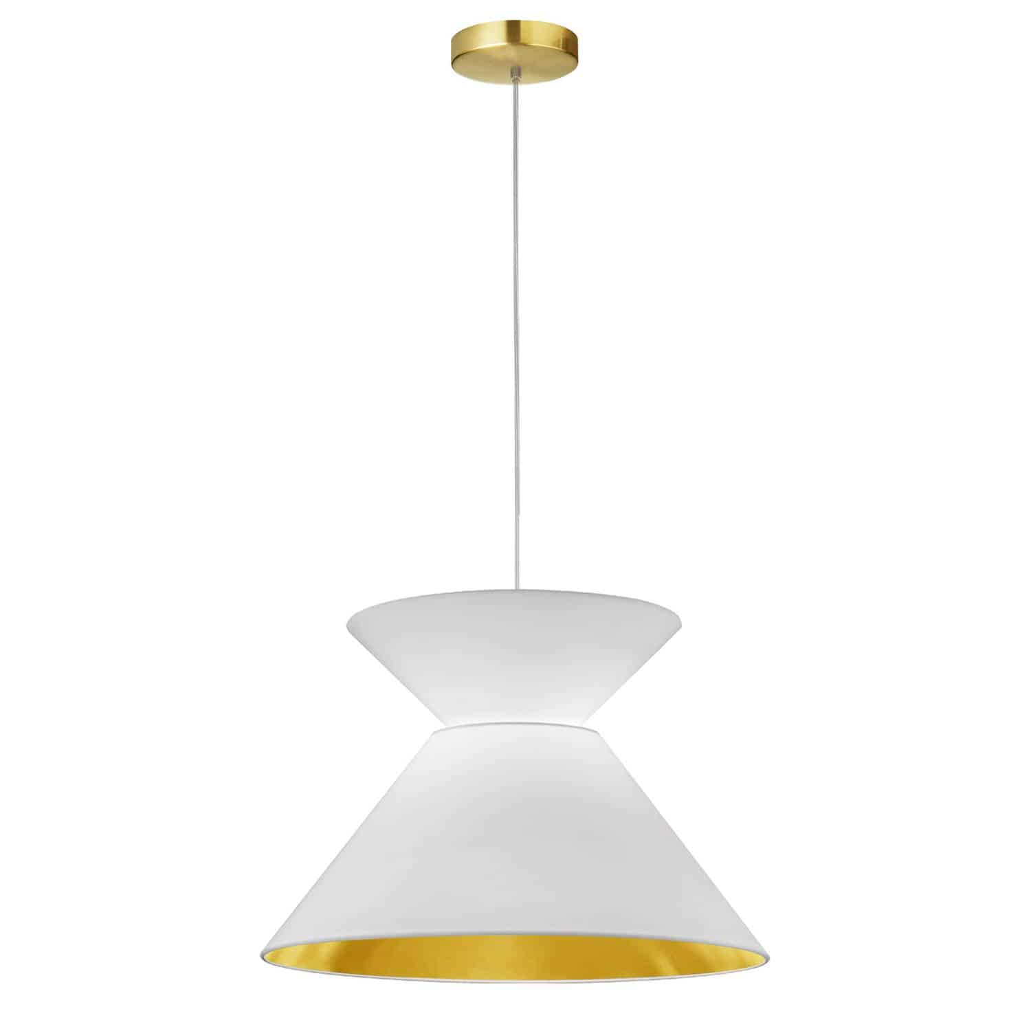 1 Light Patricia Pendant, Aged Brass with White/Gold Shade