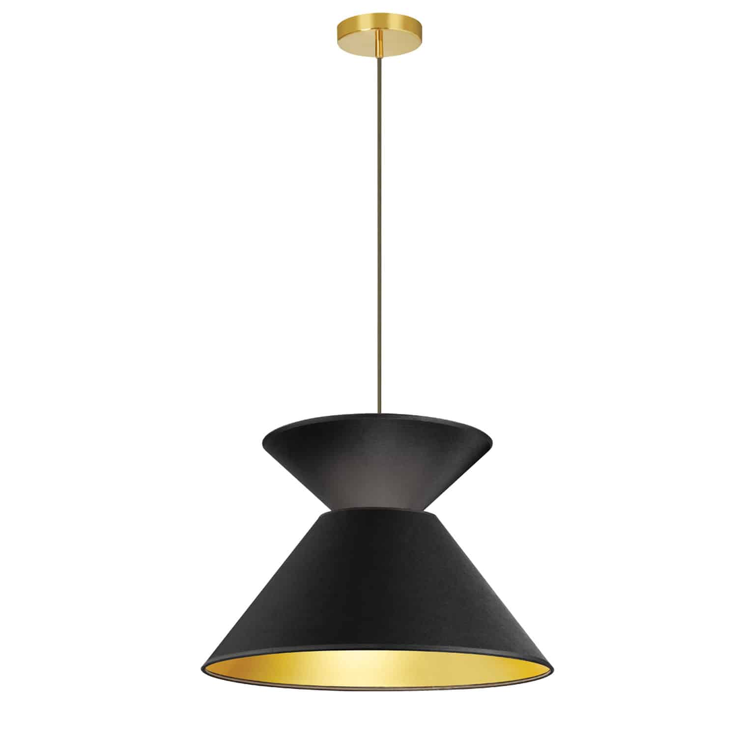 1 Light Patricia Pendant, Aged Brass with Black/Gold Shade