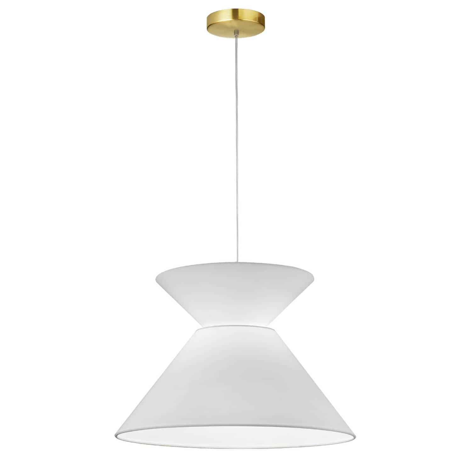 1 Light Patricia Pendant, Aged Brass with White Shade