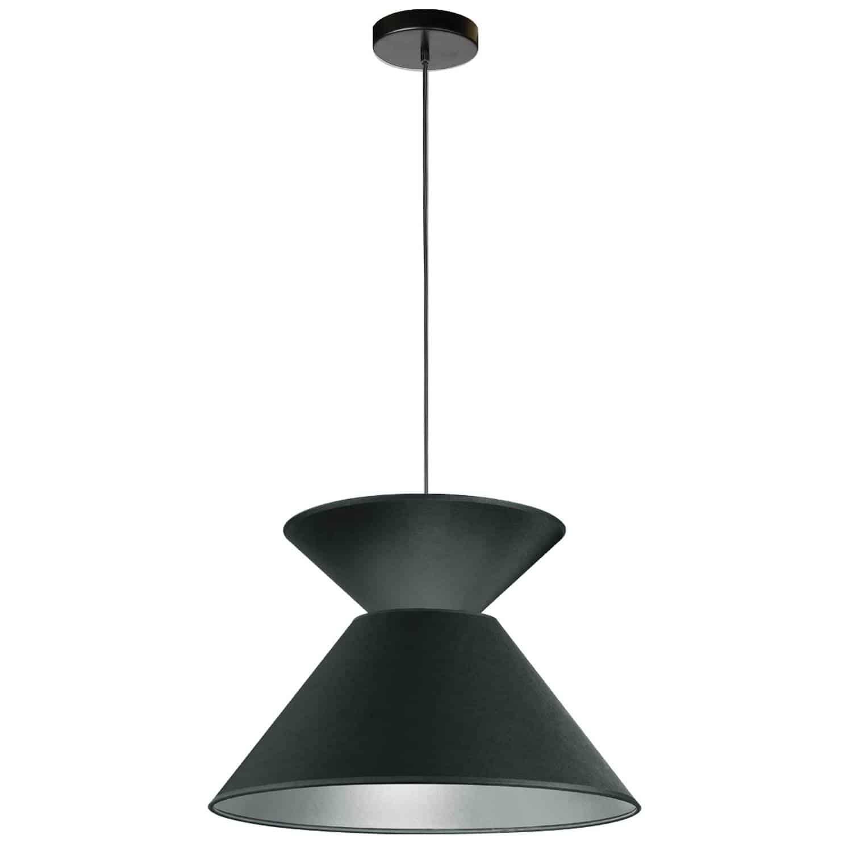 1 Light Patricia Pendant, Matte Black with Black/Silver Shade